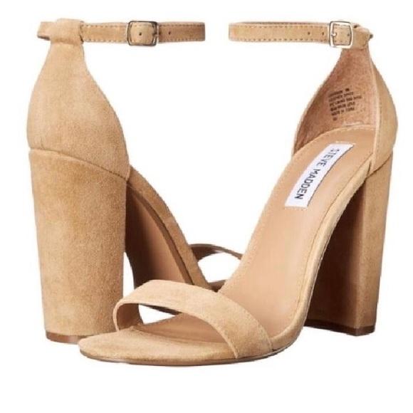 c657cc4089c Steve Madden Carson Block Heel Sandal Light Suede.  M 5b4cd364409c15ecb563fe23